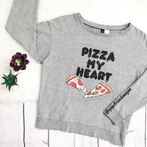 Pizza My Heart Gray Crew Neck Graphic Sweatshirt